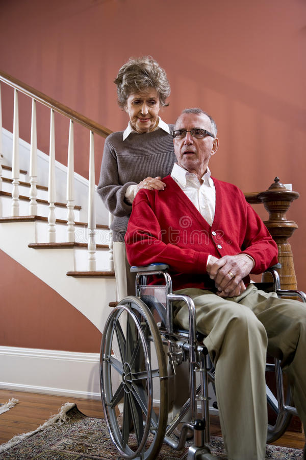 Download Senior Couple At Home, Man In Wheelchair Stock Image - Image: 14563799