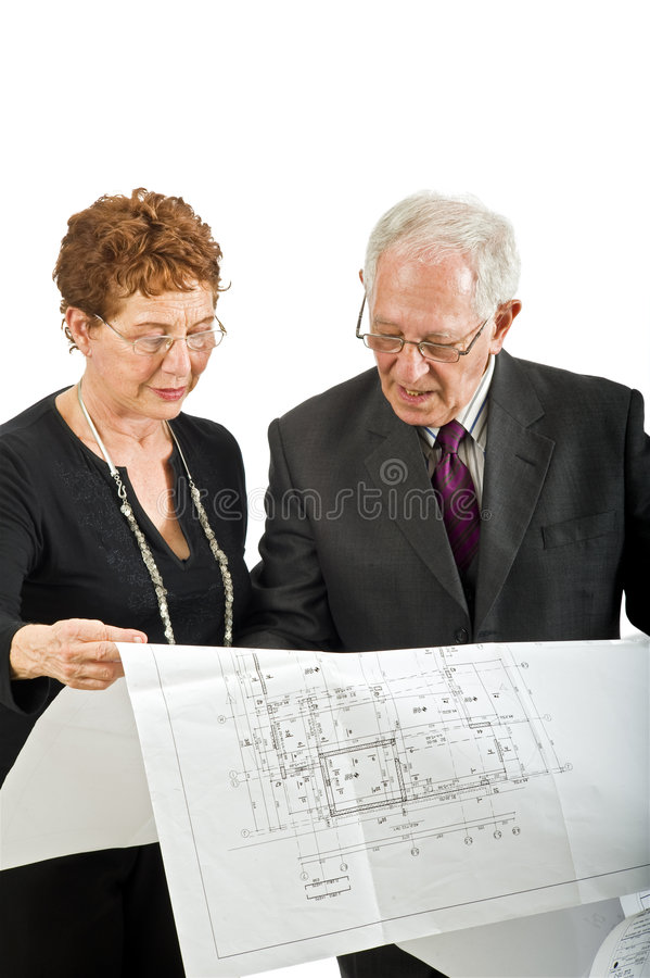Download Senior Couple And House Plans Stock Photo - Image of chief, leadership: 6361536