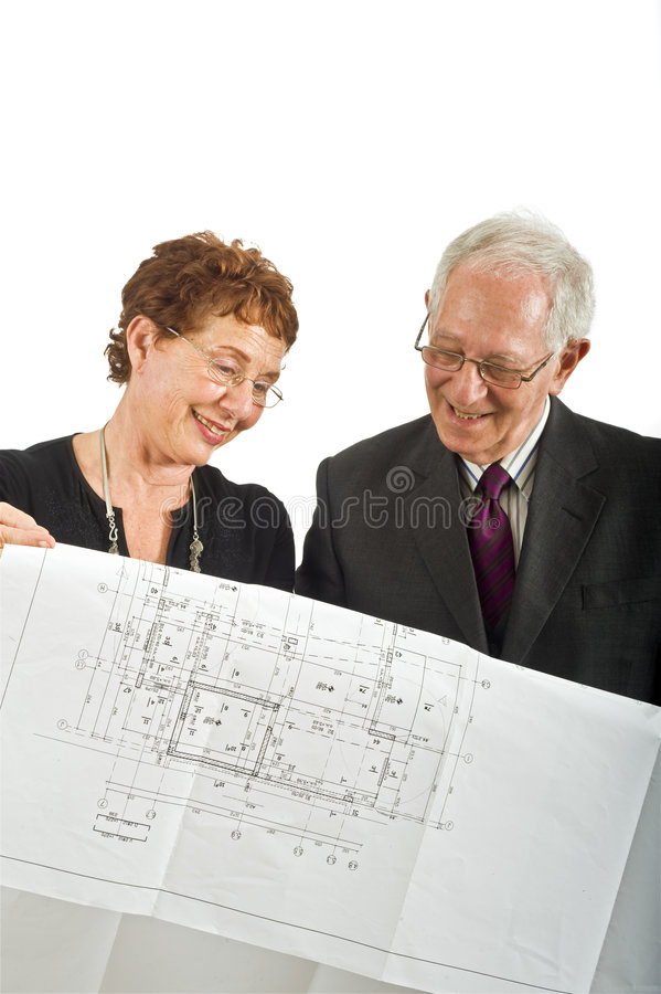 Download Senior Couple And House Plans Stock Photography - Image: 6361562