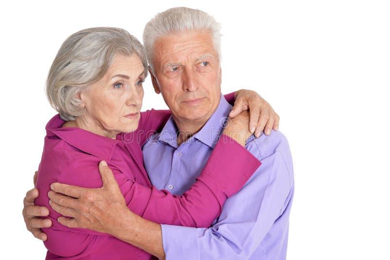 Senior couple husband and wife on white background royalty free stock photo