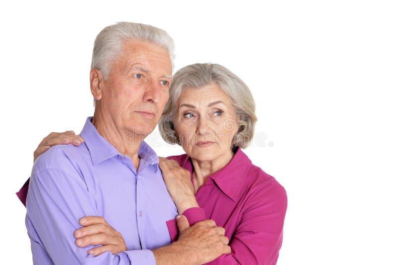 Senior couple husband and wife on white background stock photography