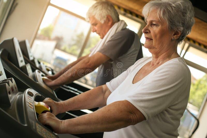 Senior couple on jogging machine. royalty free stock photo
