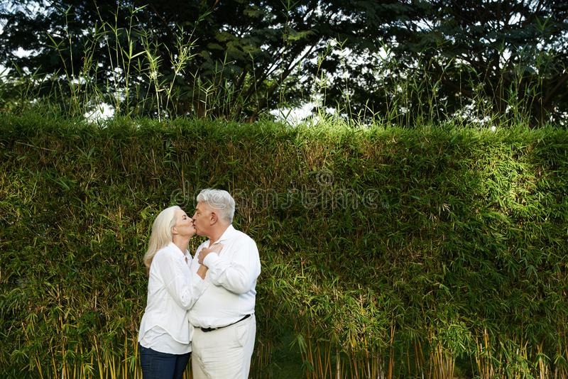 Kissing aged couple royalty free stock photos