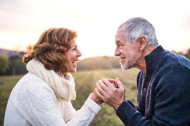 Senior couple looking at each other in an autumn nature, holding hands. stock photography