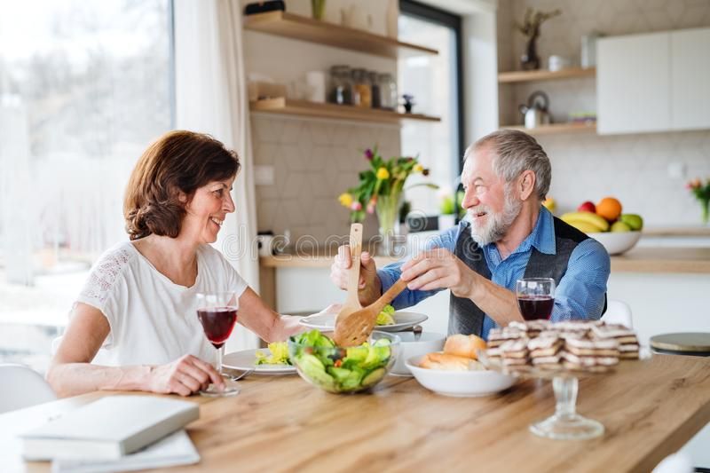 Senior couple in love having lunch indoors at home, talking. A senior couple in love having lunch indoors at home, talking royalty free stock image