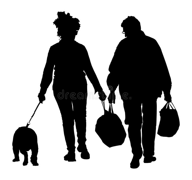 Senior couple in love holding hand and walking the street with dog. After shopping time in market. Happy elderly seniors. stock illustration