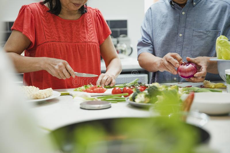 Senior Couple Making a Stir Fry Together royalty free stock photo