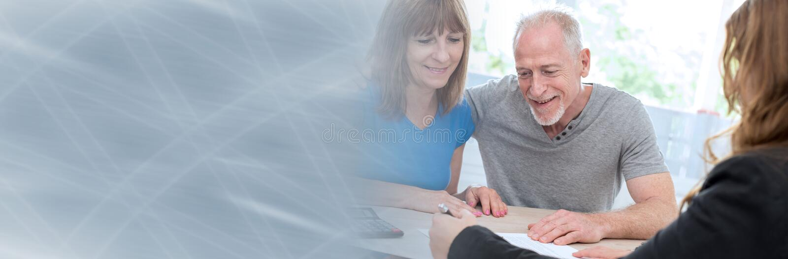 Senior couple meeting financial adviser. panoramic banner. Senior couple meeting financial adviser for investment. panoramic banner stock photos