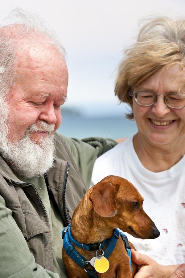 Download Senior Couple With Miniature Dachshund Stock Photo - Image: 10791716