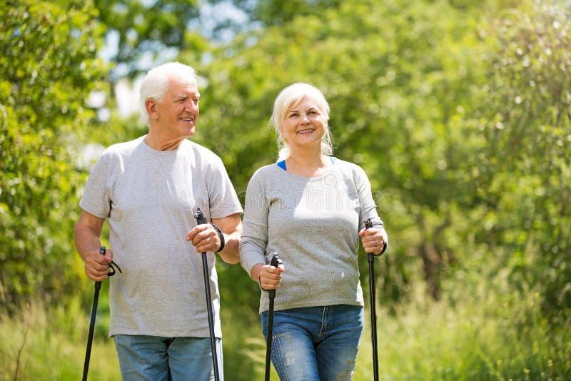 Senior couple nordic walking in park. Smiling happy elderly seniors couple royalty free stock image