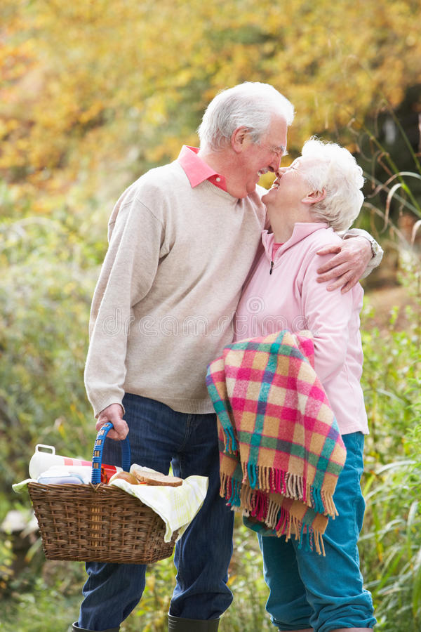 Download Senior Couple Outdoors With Picnic Basket Stock Photo - Image: 13674576