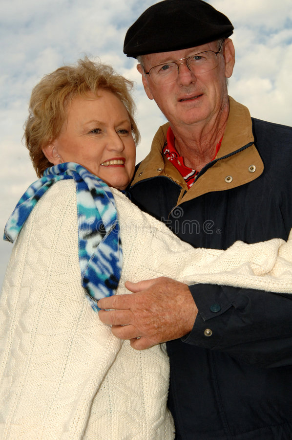 Senior Couple Outdoors Winter Royalty Free Stock Photo