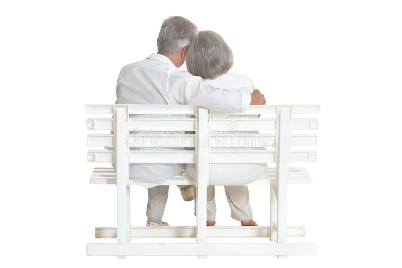 Portrait of senior couple posing isolated on white background royalty free stock photography