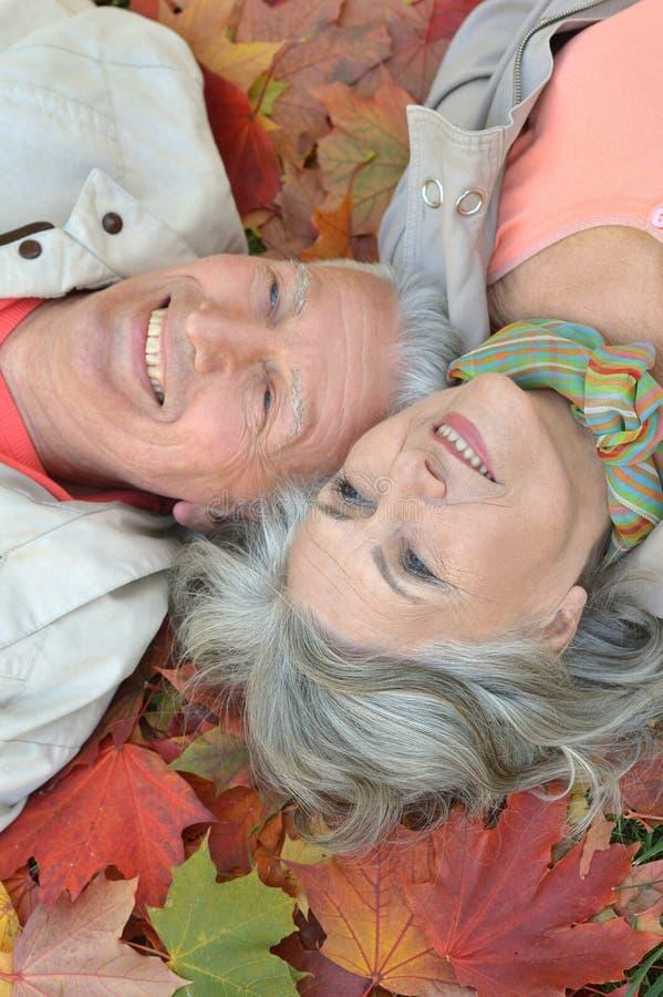 Senior couple relax in autumn park stock photos