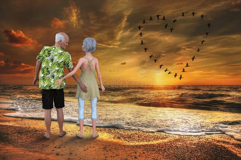 Senior Couple, Sex, Love, Romance, Nature. A mature elderly senior couple enjoy a sunrise or beach sunset. They are frisky and are ready for sex, romance, and stock photos