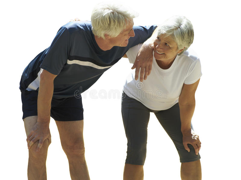 Senior couple in sports clothing, cut out stock images