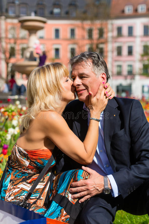 Senior Couple During Spring In The City Royalty Free Stock Photography