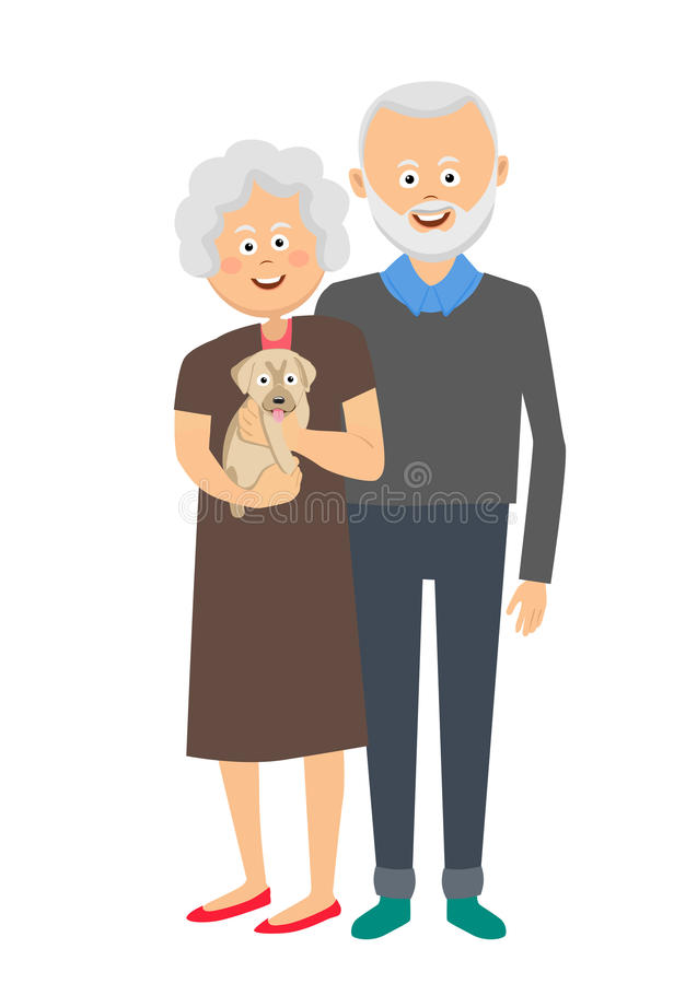 Senior couple standing with a puppy dog vector illustration