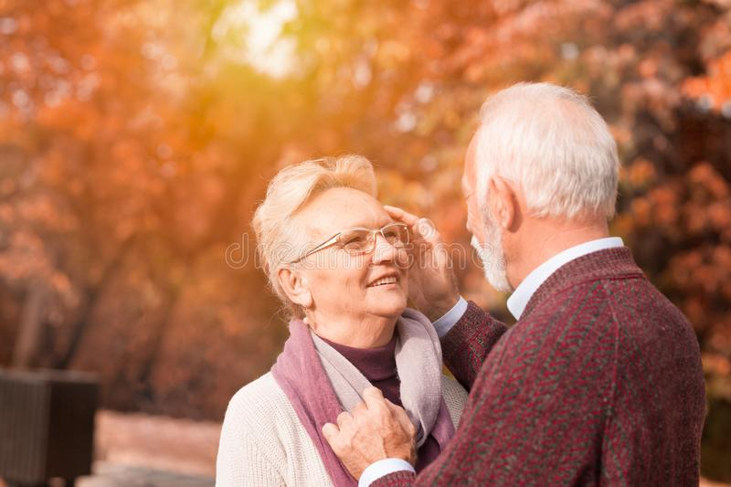 Senior couple still in love. Seniors couple looking each other with love, happy marriage stock photography