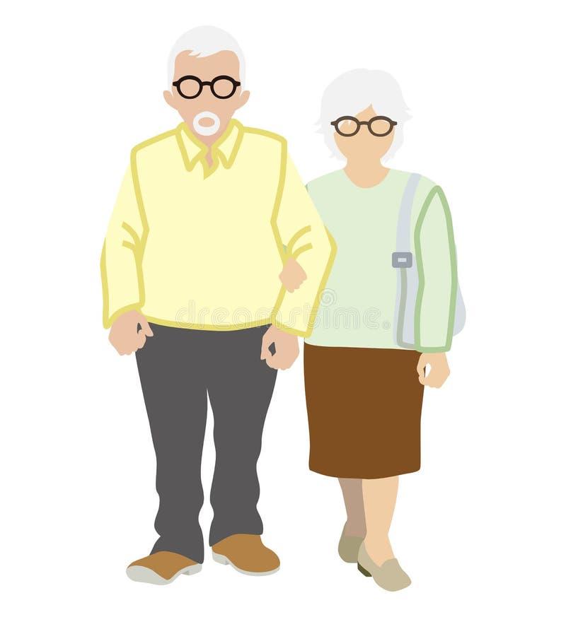 Free Senior Couple Stroll, White Background Royalty Free Stock Images - 67262979