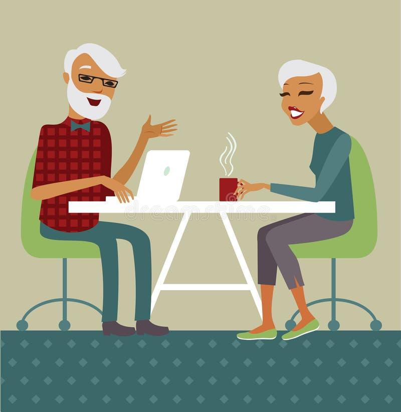 Senior couple using laptop stock illustration