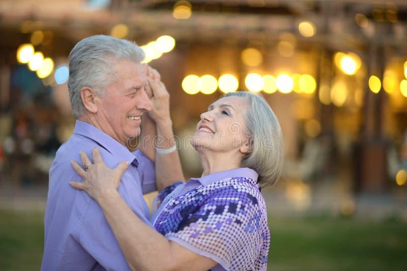 Senior couple on vacation. Portrait of amusing senior couple on vacation stock photo