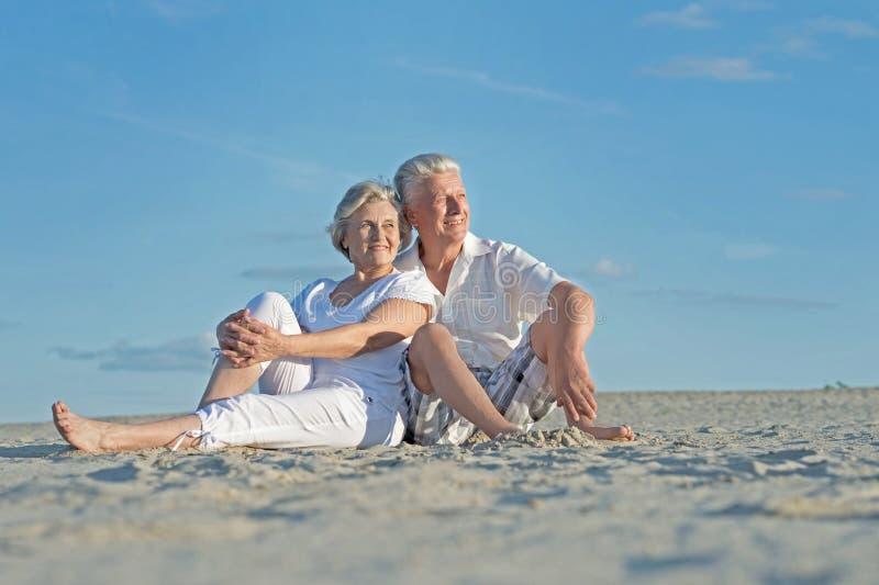 Senior couple on vacation. Portrait of amusing senior couple on vacation royalty free stock photo