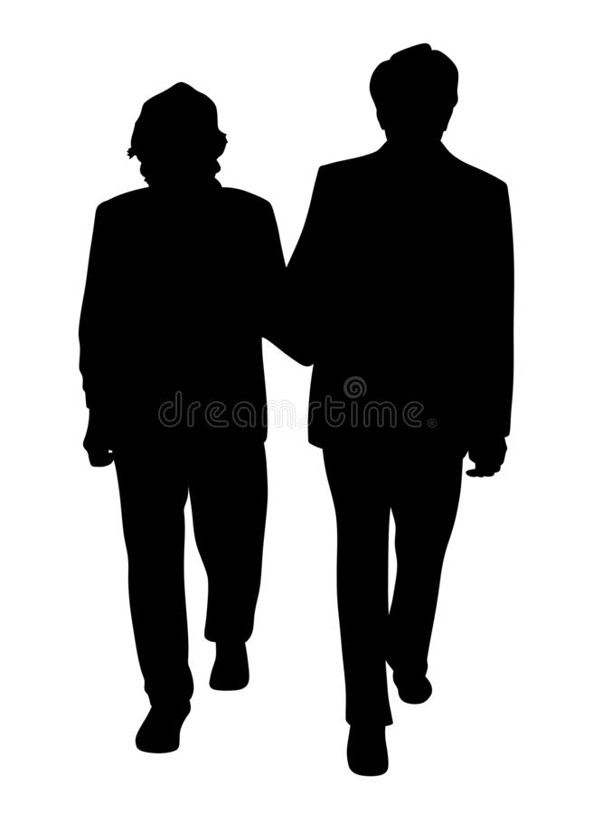 Senior couple walking arm in arm stock illustration