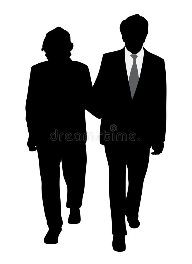 Senior couple walking arm in arm. Illustration of a senior couple walking arm in arm. Isolated white background. EPS file available vector illustration