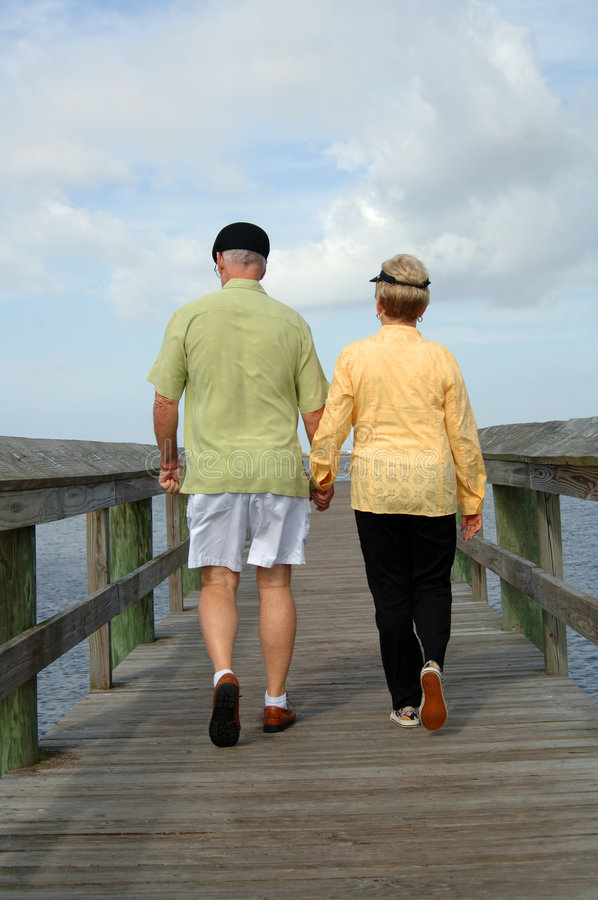 Download Senior Couple Walking Back View Stock Image - Image: 7613153