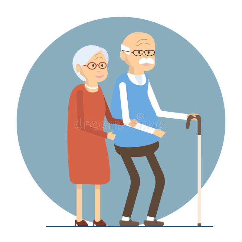 Senior Couple Walking stock illustration