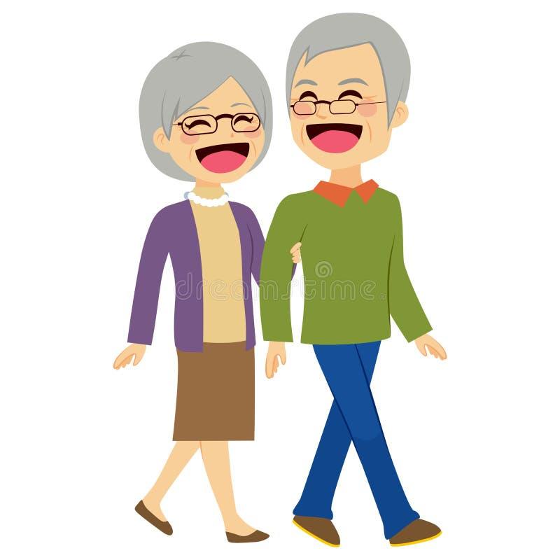 Senior Couple Walking royalty free illustration