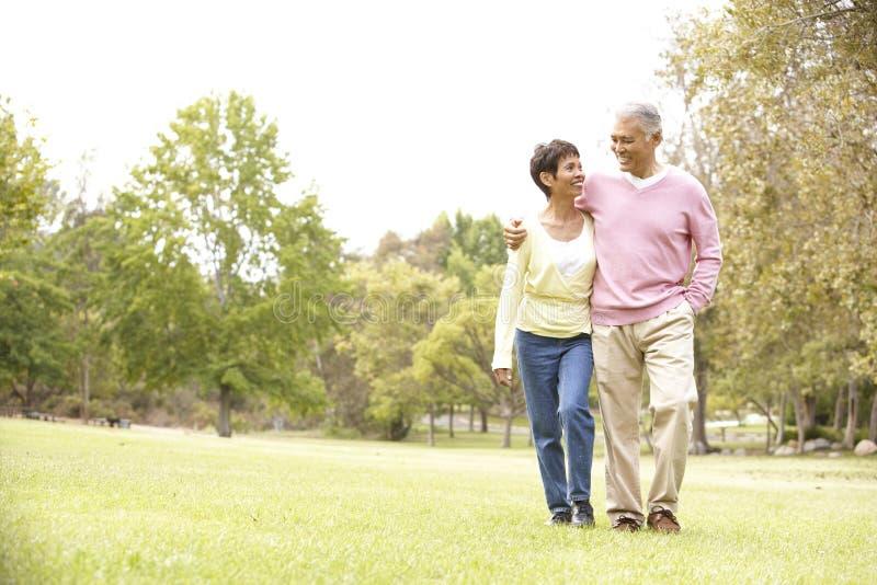 Senior Couple Walking In Park royalty free stock photo