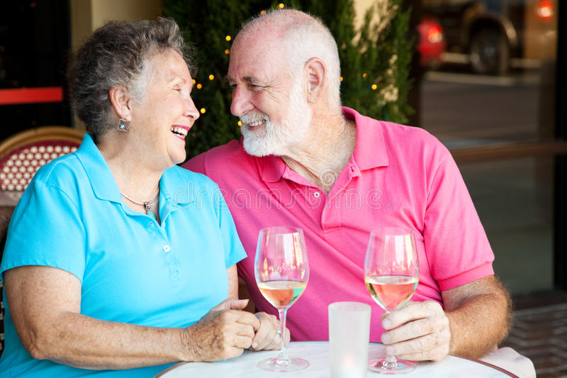Senior Couple - Wine and Romance stock photography