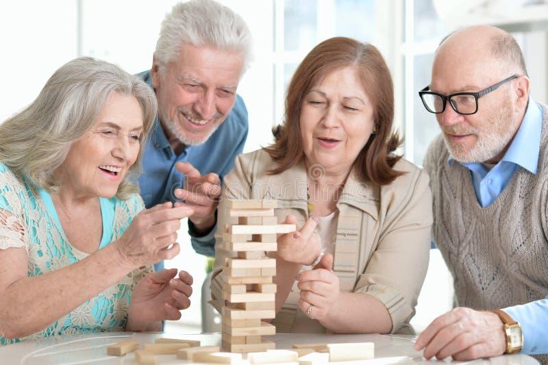 Senior couples having fun royalty free stock image