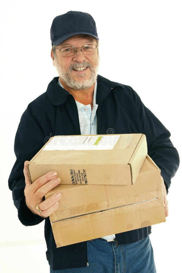 Senior delivery man stock image