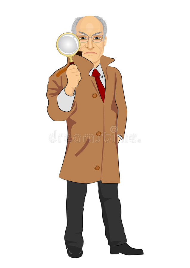 Senior detective exploring through magnifying glass on white background stock illustration