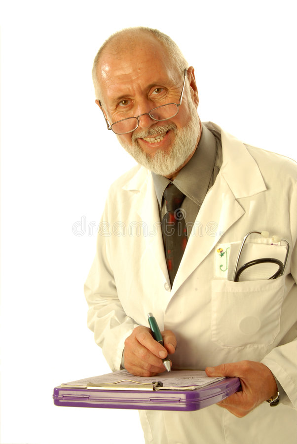 Senior doctor. Older doctor with a clipboard writing out the diagnosis; isolated on white royalty free stock photos