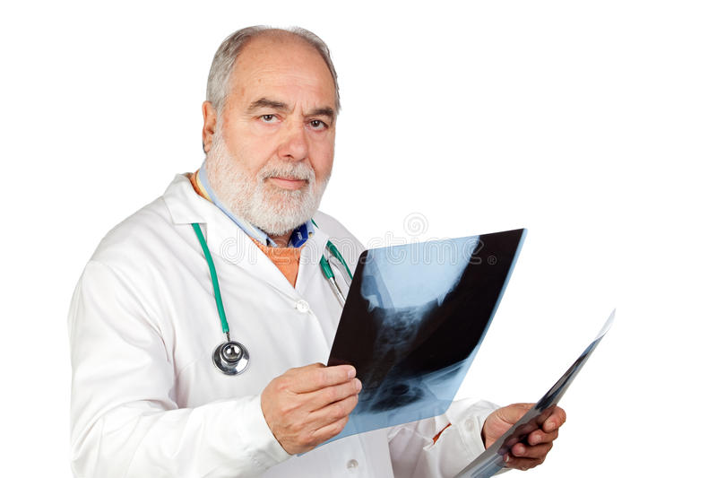 Senior Doctor With Hoary Hair With A Radiography Stock Photo