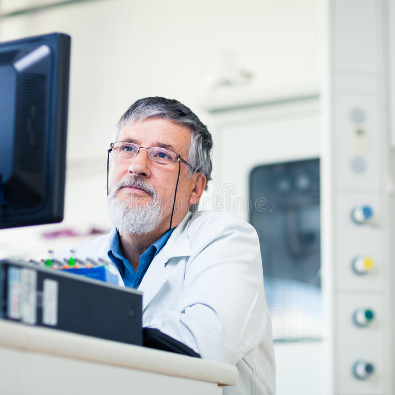Senior Doctor Using His Tablet Computer Stock Photography