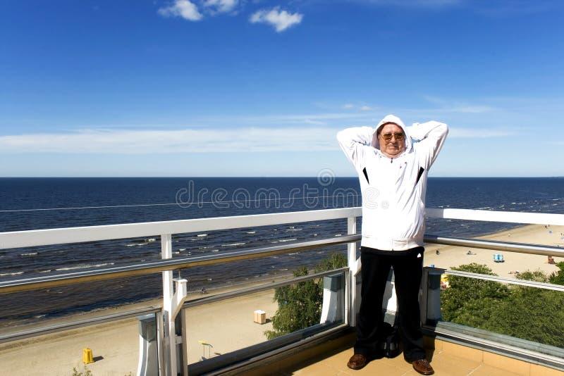 Senior doing sport outdoors stock photo
