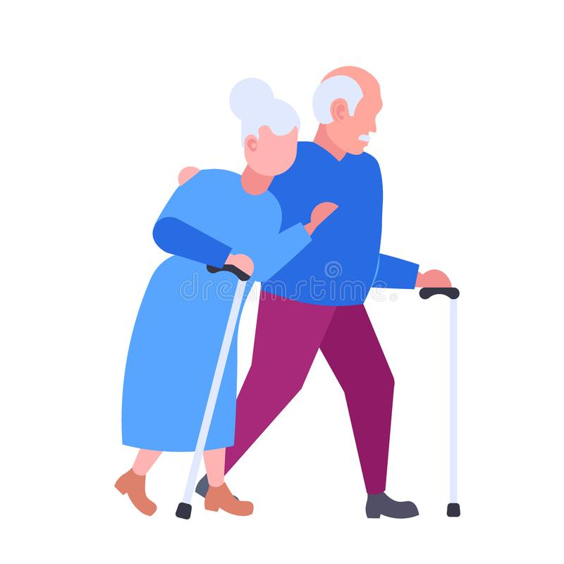 Senior elderly couple walking together aged gray haired man woman embracing happy grandparents in love togetherness. Concept flat cartoon characters full length vector illustration