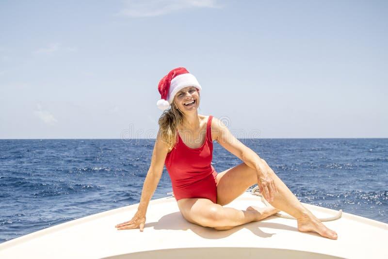Senior Enjoying Christmas In The Caribbean stock image