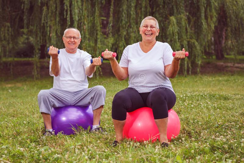 Senior exercise - pensioner couple holding dumbbells while sitting on fitness ball in park stock photos