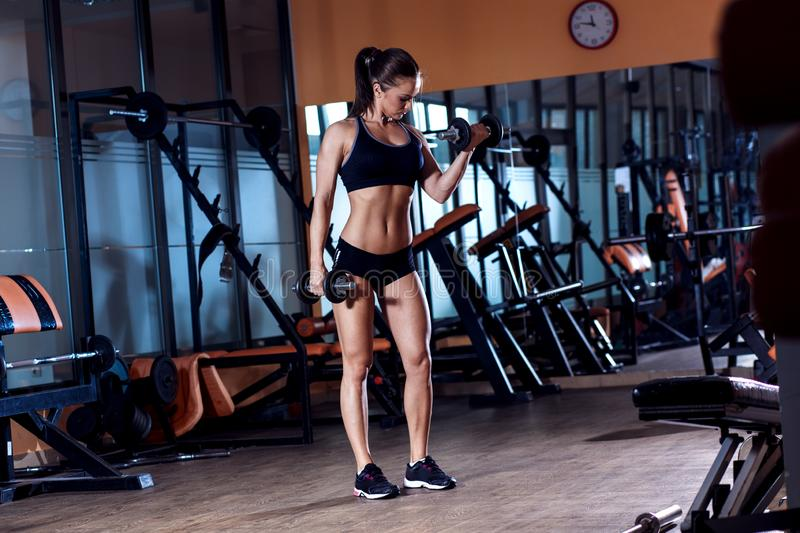 Young woman exercising with dumbbells weight in the gym. royalty free stock photos