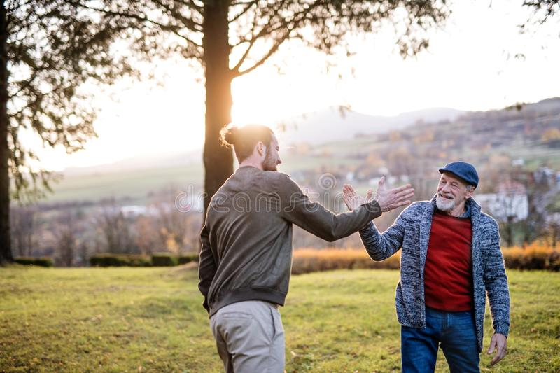 Senior father and his son on walk in nature, giving high five. royalty free stock photography