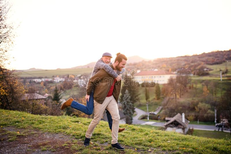 Senior father and his son walking in nature, having fun. stock image