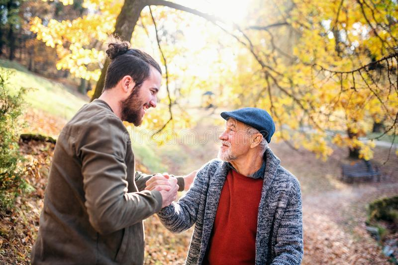 Senior father and his son walking in nature, shaking hands when talking. royalty free stock images