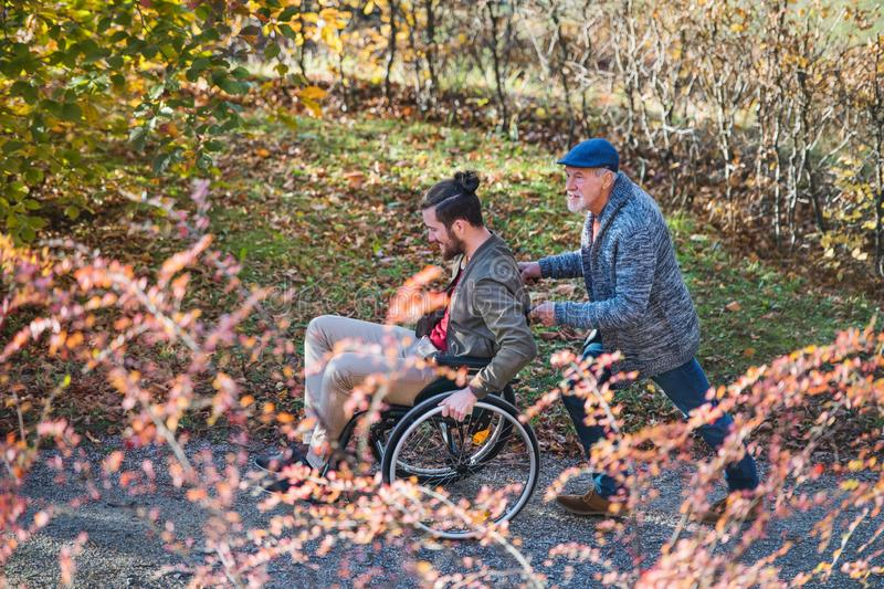 Senior father and his son in wheelchair on walk in nature. A senior father and his son in wheelchair on walk in nature royalty free stock photography