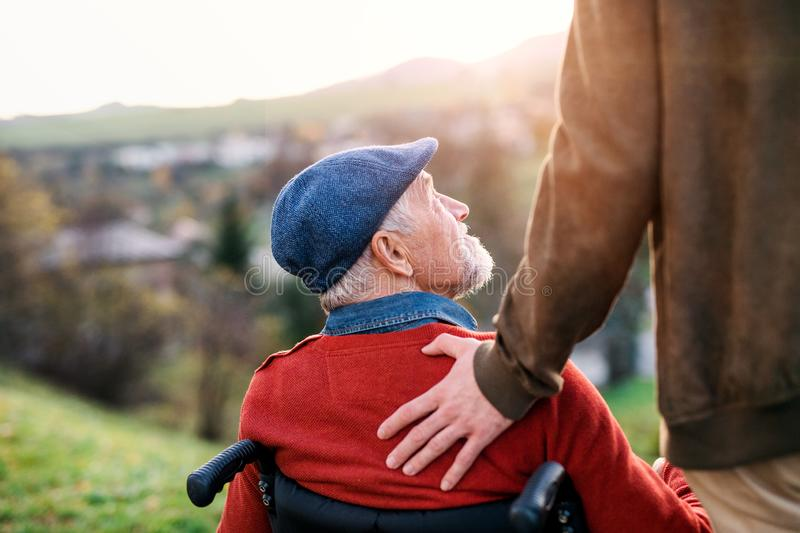 Senior father with wheelchair and his son on walk in nature, talking. royalty free stock image